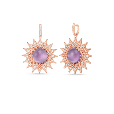 18K GOLD, DIAMOND & AMETHYST ROMAN BAROCCO LRG SUNBURST DROP EARRINGS