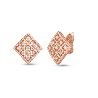 Product 18k Gold & Diamond Byzantine Barocco Small Square Stud Earring
