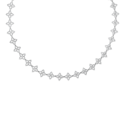 18K DIAMOND OUTLINE ALL AROUND SMALL FLOWER NECKLACE