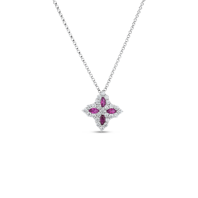 18K GOLD, DIAM & RUBY PRINCESS FLOWER MEDIUM PENDANT