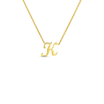 Product 18k Small Script Initial 'K' Pendant On Chain