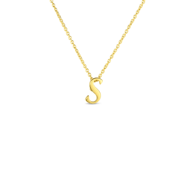 Product 18k Small Script Initial 'S' Pendant On Chain