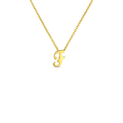 Product 18k Small Script Initial 'F' Pendant On Chain