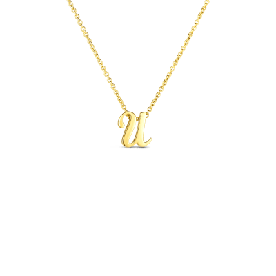 Product 18k Small Script Initial 'U' Pendant On Chain