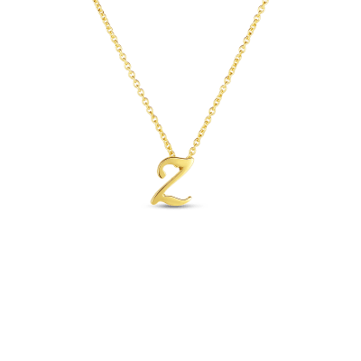 Product 18k Small Script Initial 'Z' Pendant On Chain