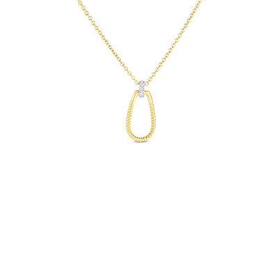 Product 18k small twisted stirrup with diamond bale pendant