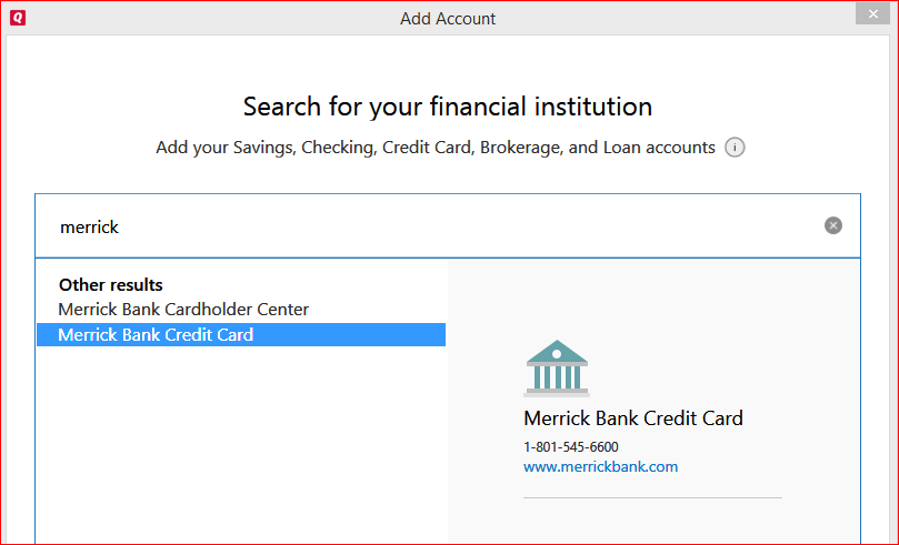 Read on to learn more about merrick bank credit ca. I Can Not Add Merrick Bank Credit Card Get Error Cc502 Quicken