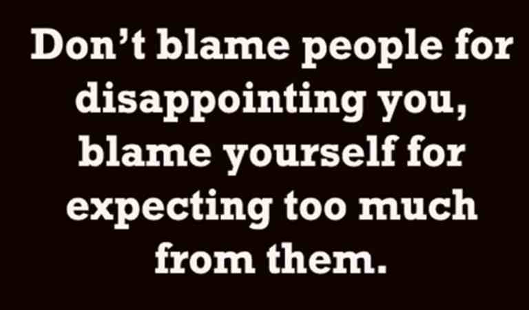 Don't blame people.