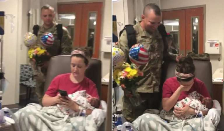 Soldier husband sneaks into hospital as struggling wife visits preemie twins in NICU