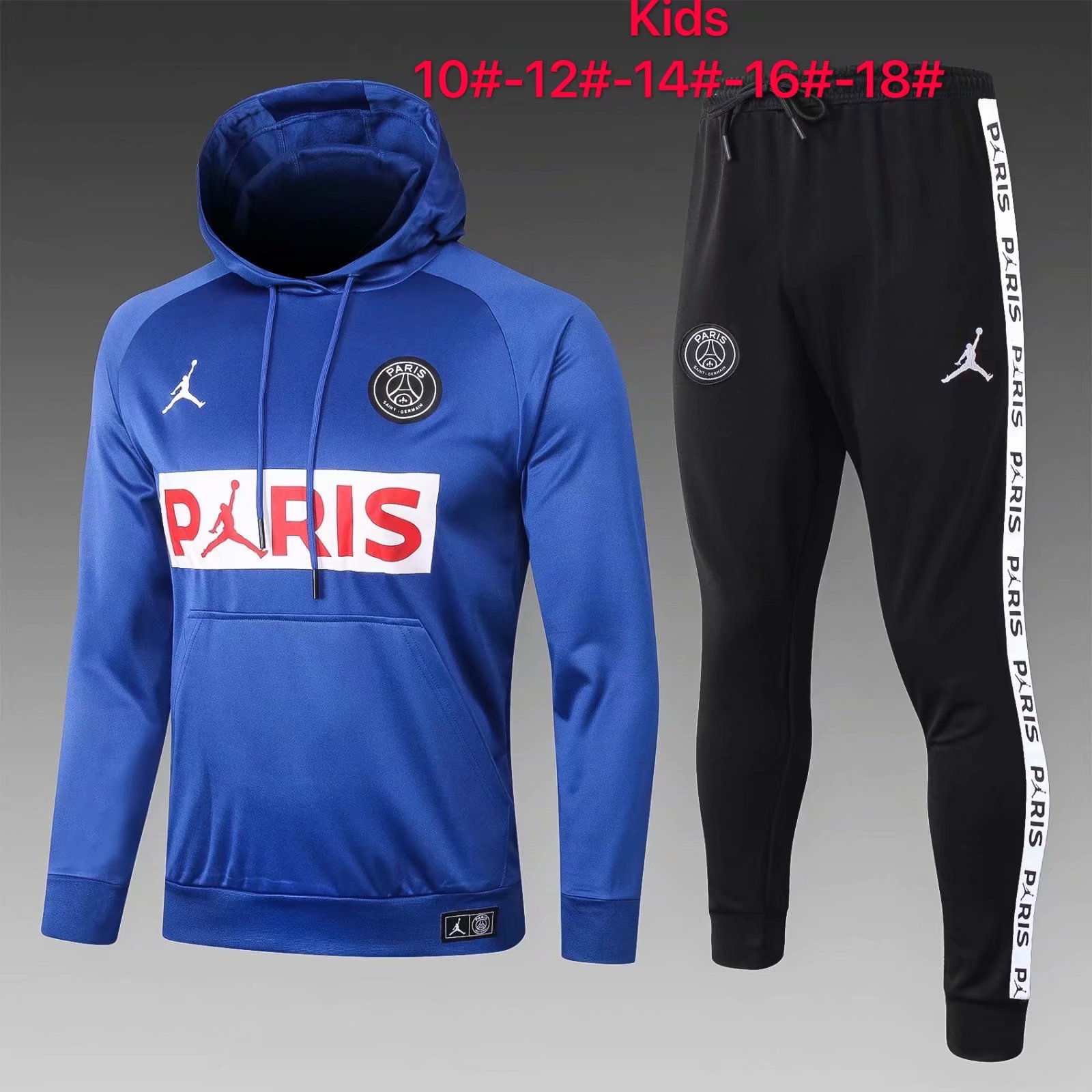 kids psg jordan hoodie sweatshirt pants suit blue 2020 21