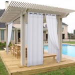 Waterproof Outdoor Sheer Curtain With Rope Tieback For Porch