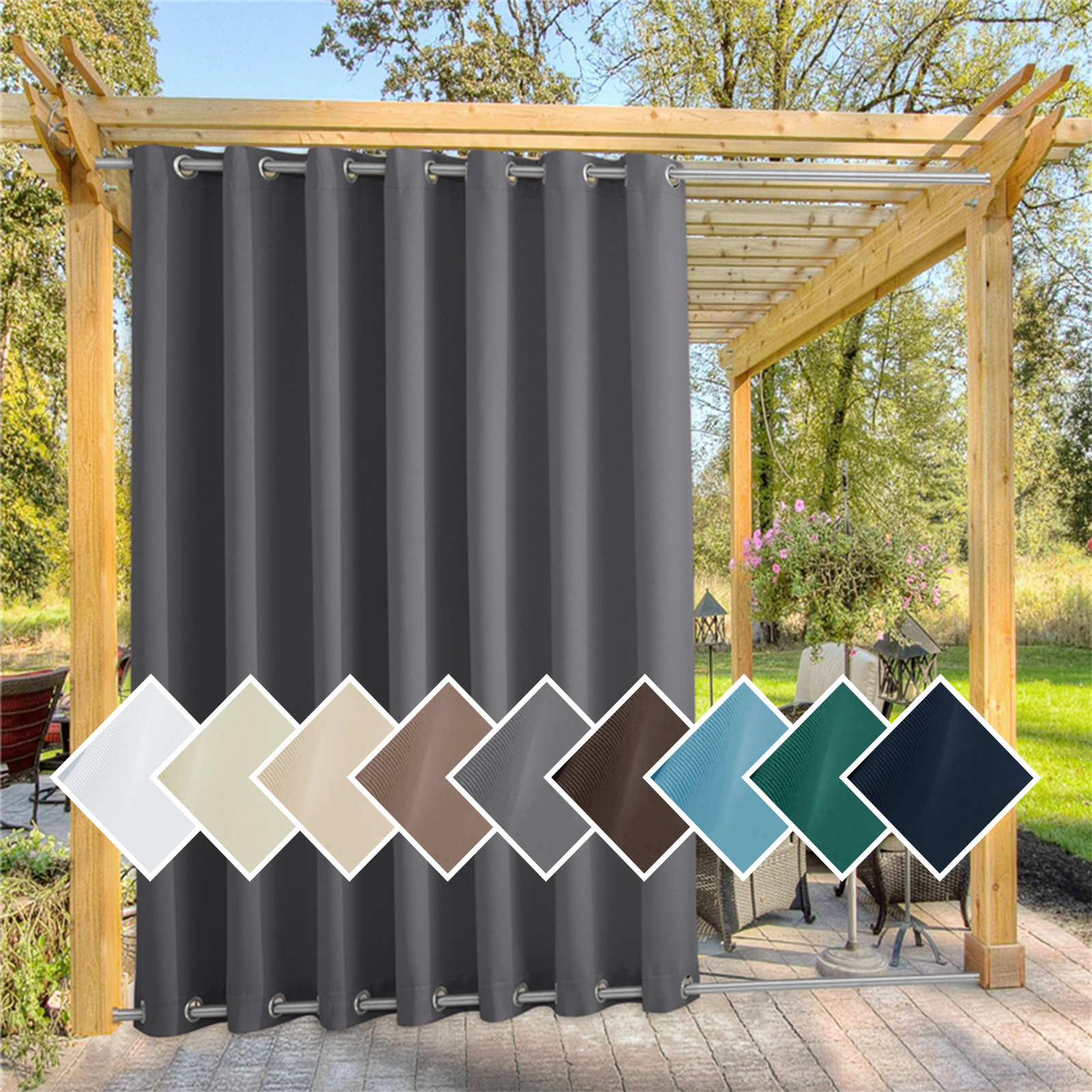 custom outdoor curtain for patio waterproof windproof thermal insulated top and bottom fixed rustproof grommets light block outdoor curtain drape