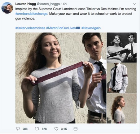 Photo credit to Louder with Crowder. Deleted Lauren Hogg public profile tweet.
