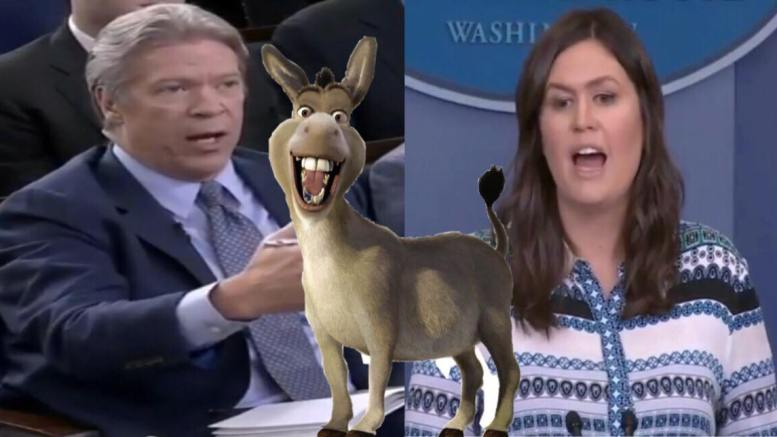 Sarah Sanders pins the facts down during the White House Presser. Image credit to US4Trump with YouTube screen shots and enhancement with 2ccrunblog.fr.