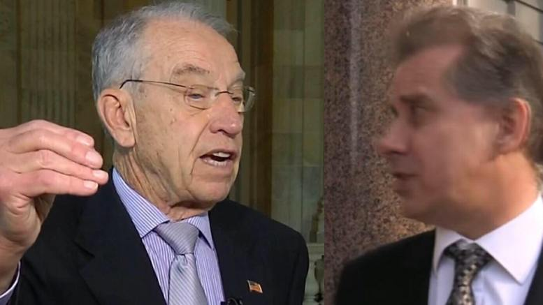 Grassley asks for video taped deposition on Steele. Photo credit to US4trump screen grab.