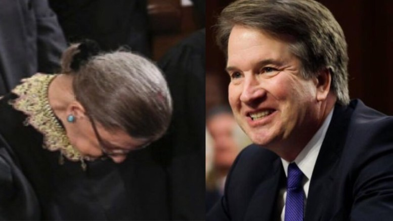Kavanaugh outdoes Ginsburg on his first day! Photo credit to US4rump compilation with Reddit & The Catholic Spirit.