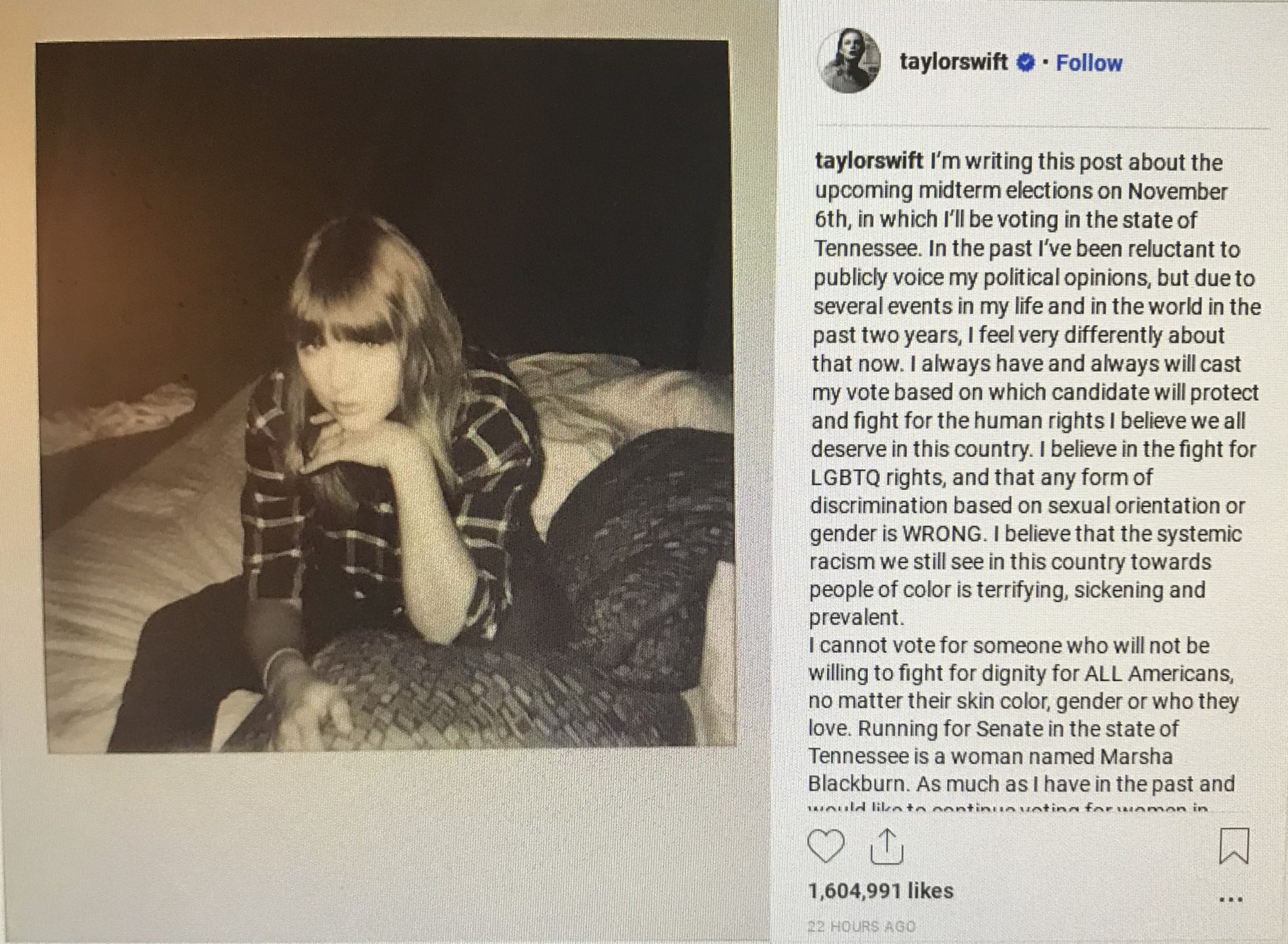 Taylor Swift Instagram political statement. Photo credit to US4Trump with public instagram profile.