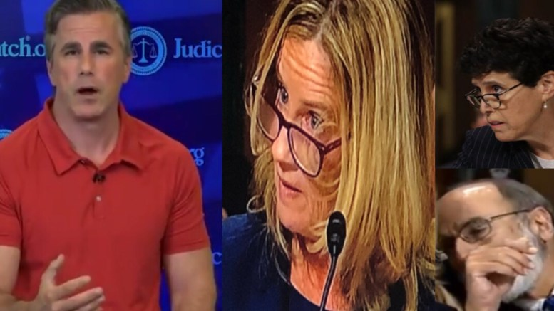 Judicial Watch files on Ford's trio of attorney's. Photo credit to US4Trump compilation with video screen shots.