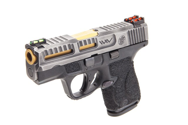 Wetwerks M&P Shield 9mm Tungsten Battleworn concealed carry. An awesome and stylish peacock of a CCW handgun.