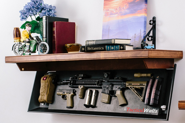 Concealed gun safe in a shelf