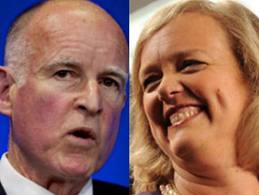 Jerry Brown holds a 10-point lead over Meg Whitman heading into the final week of the election. Image: ##http://losangeles.cbslocal.com/2010/10/21/poll-california-voters-back-off-whitman-prop-19/##CBS Los Angeles##