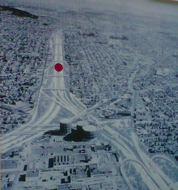 A drawing of the proposed Mount Hood Freeway. Richard Ross put a red dot where his friend's house still stands, despite plans to pave over it.