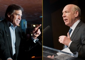 Governor Rick Perry, left, is expected to beat out Democrat Bill White, right, to win an unprecedented third term. ##http://www.texastribune.org/texas-politics/2010-texas-governors-race/perry-white-should-leave-race/##Texas Tribune##