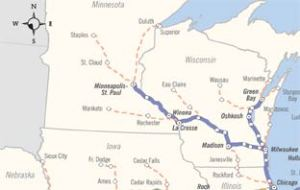 The rail segment in question would connect Chicago to Minneapolis. ##http://dailyreporter.com/blog/2009/11/19/connections-2030-rail-routes-spur-competition-between-la-crosse-eau-claire/##Daily Reporter##