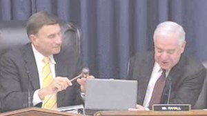 Ranking Member Nick Rahall presents Chairman John Mica with a new gavel to run the Transportation and Infrastructure Committee.