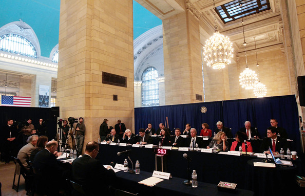 The House transportation committee meeting on the balcony of Grand Central Terminal. Photo: __
