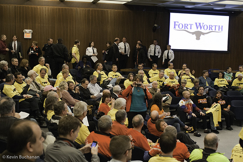 Supporters of Fort Worth's new bike plan packed city council chambers and cheered it to passage in February. Photo: Kevin Buchanan