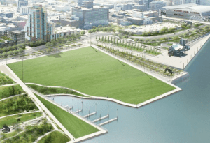 A rendering of the 8664 plan, to turn I-64 from a raised interstate to a street-level boulevard on the Ohio River waterfront near downtown Louisville. Image: ##http://www.8664.org/about.html## 8664##