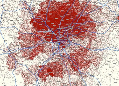 This map shows the location of the two stadiums. Braves 2012 ticket buyers are shown in red. Image: ##http://homeofthebraves.com/overview/## Braves##