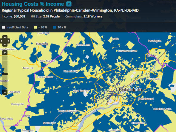HUD And US DOT Embrace Housing Transportation Metric For - Us map housing expense 2016