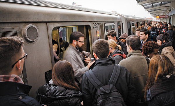 The first Core Capacity grant of the New Starts program will ease overcrowding on Chicago's red and purple lines. Photo: Michael Boyd/##http://www.chicagoreader.com/chicago/how-to-fix-the-el-cta/Content?oid=3473194##Chicago Reader##