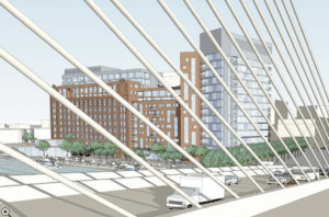 A rendering of the new Lovejoy Wharf 175-unit condo development, Boston's first car-free housing development. Image: ##http://boston.curbed.com/archives/2013/12/no-parking-boston-gives-green-light-to-carless-condo.php## Curbed##