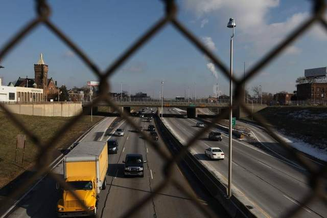 A costly proposal to widen I-94 in Detroit threatens the recovery of the city's Midtown neighborhood. Image: ##http://www.freep.com/article/20131201/BUSINESS06/312010066/I-375-I-94-MDOT-freeways-Detroit## Free Press##