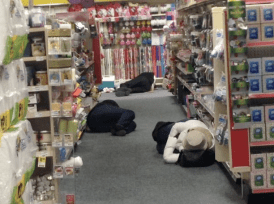 Stranded people slept on the floor of stores throughout Atlanta. Image: Atlanta Journal Constitution
