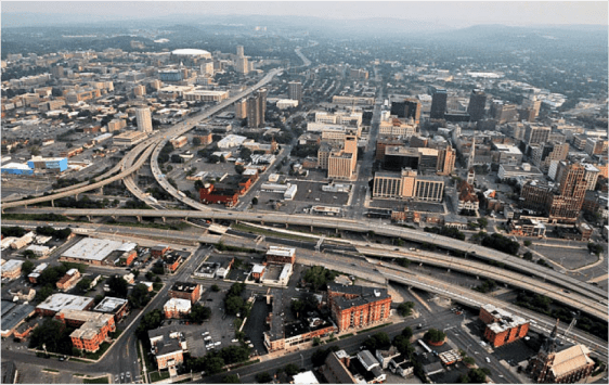 Leaders at Syracuse University think I-81 is an impediment to the school's growth. Image: CNU