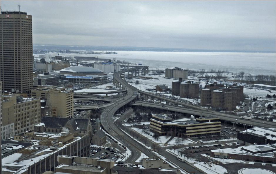 Buffalo's Route 5 Skyway is a blight on the waterfront. Image: CNU