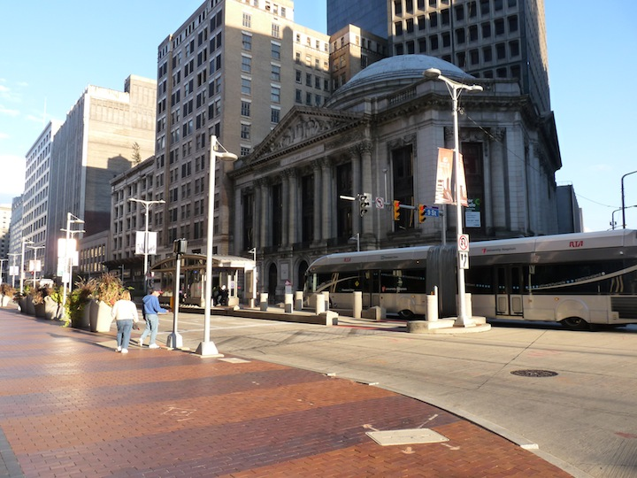 -Cleveland's HealthLine BRT, a median-aligned silver-standard corridor on Euclid Avenue, has leveraged 5.8 billion in development, while the city's contribution to the project was only 200 million. Photo: ITDP