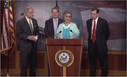 Sen. Barbara Boxer, together with Sens. Carper, Vitter and Barrasso, announced their agreement to maintain the status quo with the next bill. Screenshot from press conference.