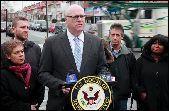 Rep. Joe Crowley announces his Pedestrian Fatalities Reduction Act this morning in Queens. Photo courtesy of the Office of Rep. Joe Crowley.