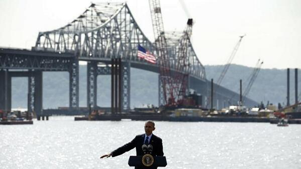 With the Tappan Zee Bridge behind him, President Obama made his case for more infrastructure spending. Photo: ##https://twitter.com/TheObamaDiary/status/466676032834387969/photo/1##TheObamaDiary/Twitter##