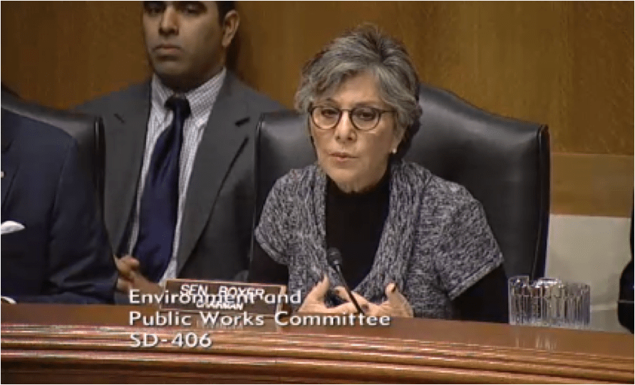 EPW Committee Chair Barbara Boxer said she's proud of the bipartisan bill the committee passed unanimously this morning.