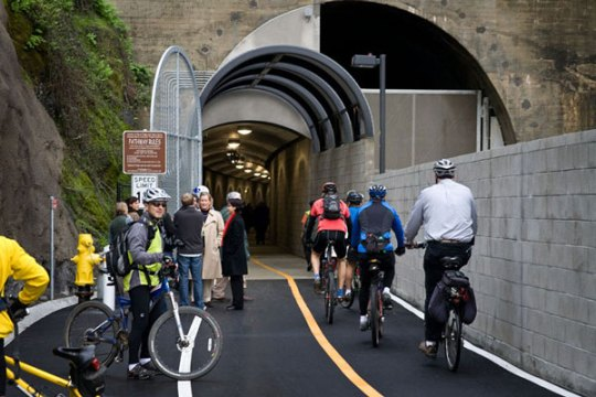 Marin County rebuilt an old railroad tunnel and created a 1.1-mile non-motorized path, expanding transit access and increasing biking by 95 percent. Photo: ##http://parisi-associates.com/projects/non-motorized-transportation-pilot-program/##Parisi Associates##