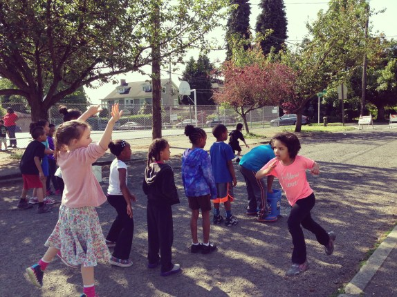 St. Terese students in Seattle held their field say in 35th Avenue. Photo: Seattle Public Space Program