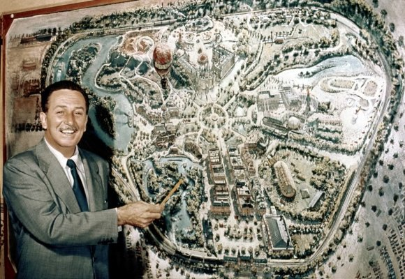 In the fifties, Walt Disney became more interested in making places than making movies. Photo: ##http://blogs.disney.com/insider/articles/2014/04/06/60-years-ago-disneyland-starts-journey-from-dream-to-reality/##Disney Insider##