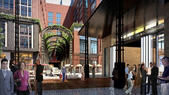 Alleys will welcome pedestrians, not just service vehicles. Rendering: Perkins Eastman