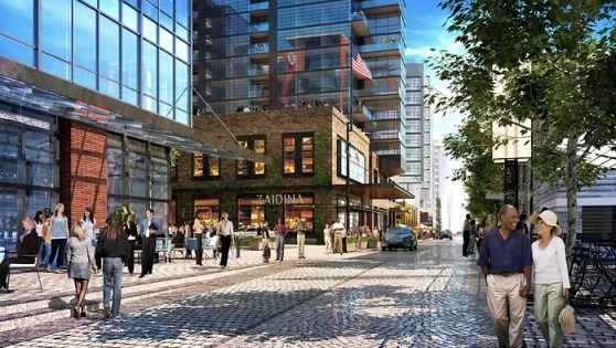 Rendering of Wharf Street SW, a shared space under construction in Washington, DC.